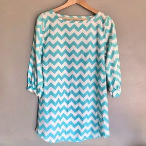 Turquoise Chevron Dress Lolly Wolly Doodle